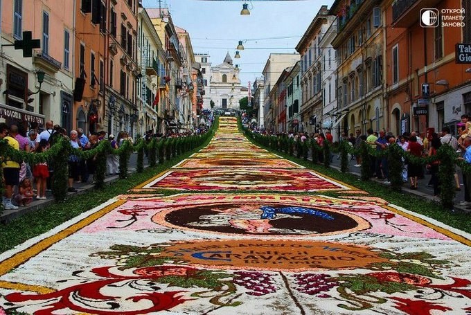 Цветочный ковер на фестивале генсано