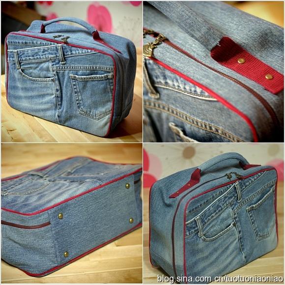 Сумка-чемодан из старых джинсов. Мастер-Класс - Babyblog.ru.