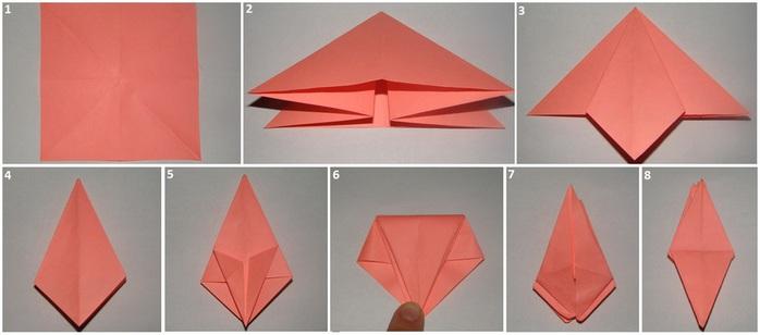 Оригами из бумаги лилия фото