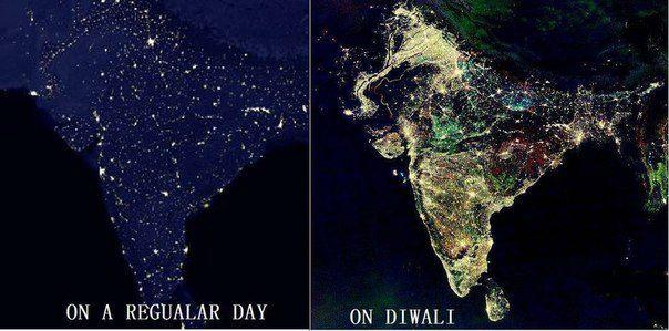 Индия в обычную ночь и ночь праздника