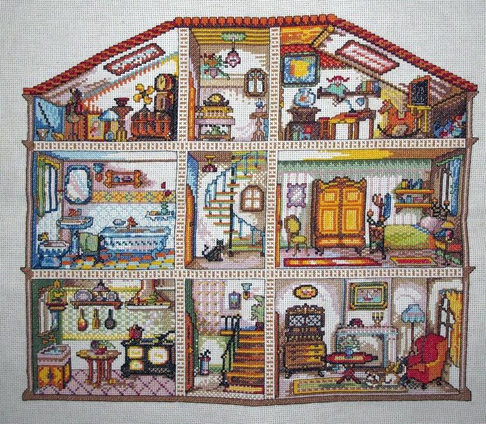 Вышивка Кукольные домики.