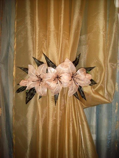 Как сшить цветы из ткани для штор