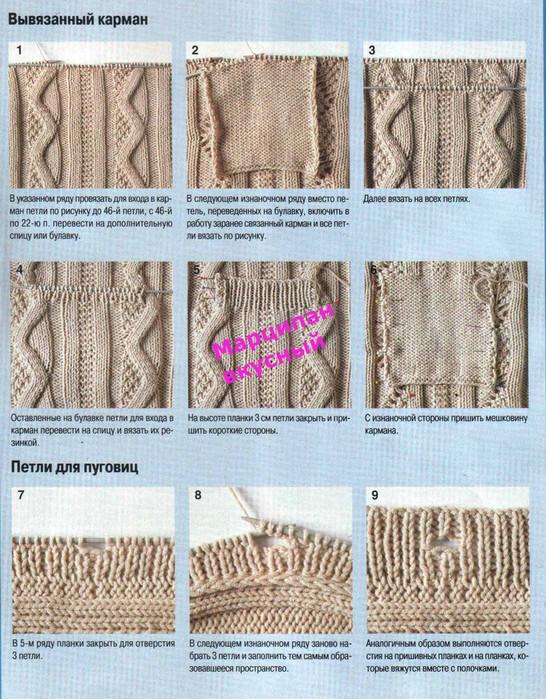 Вязание спицами отверстие для пуговицы 348
