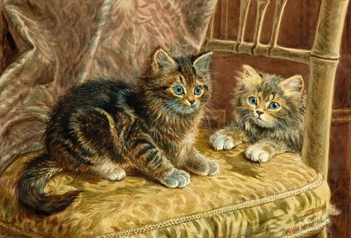 Title Unknown (Vintage Victorian Cats) by Wilson Hepple (cat painting)