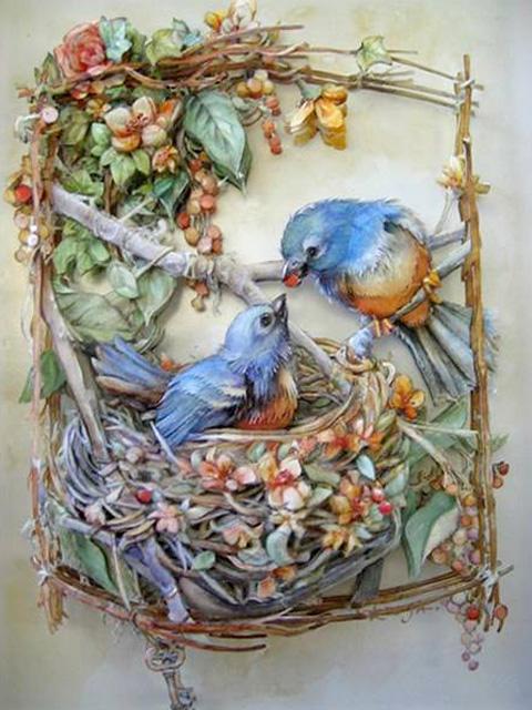 птички в гнезде объёмно!!! (480x640, 159Kb)