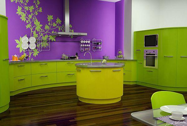 Кухня весенней расцветки цвет лайма