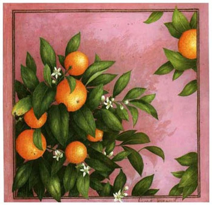 """Схема вышивки  """"Панно с апельсинами """": таблица цветов."""
