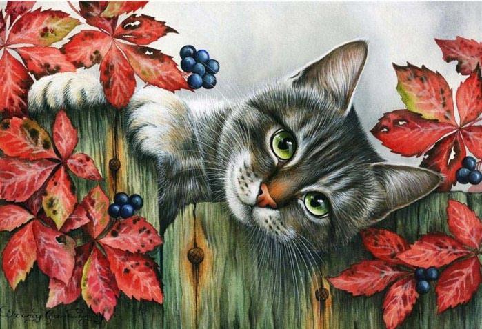 Еще один спящий кот.  Кот на подоконнике.  Кот в глухом уголке сада.