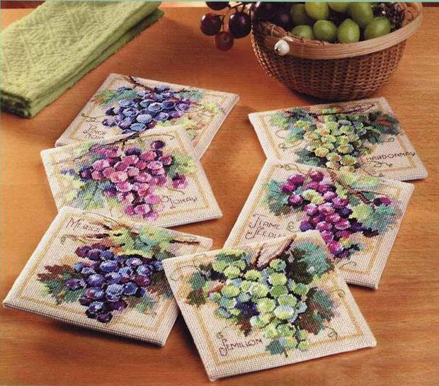 Вышивка крестом виноград