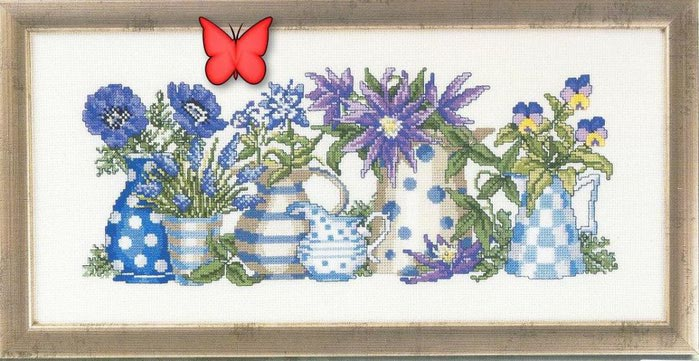 Чайник с цветами вышивка