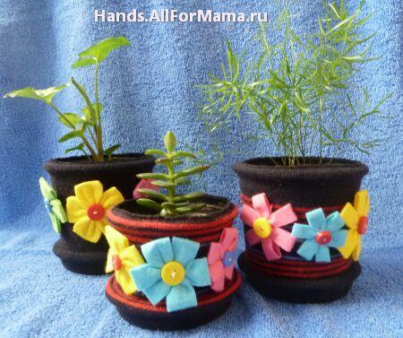 Чем украсить горшок для цветка
