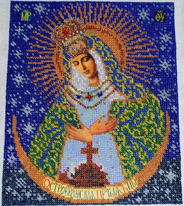 """Арт.B-161.  Набор для изготовления иконы из бисера  """"Острабрамская Богородица """" ."""