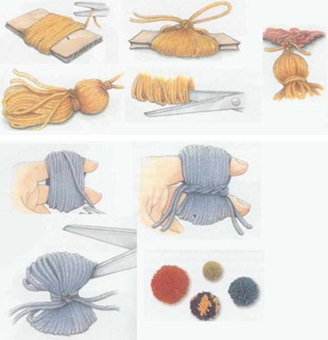 Помпоны из пряжи своими руками пошагово на картоне 2