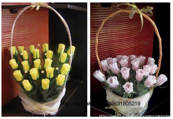 Цветы из бумаги с конфетами своими руками тюльпаны