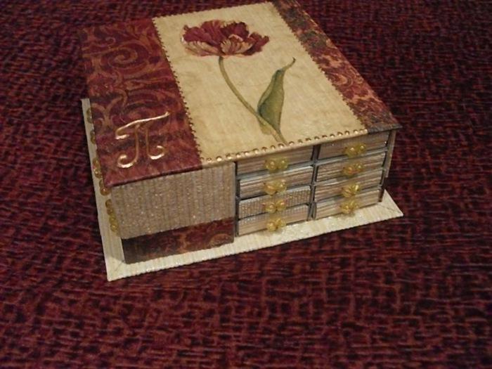 Шкатулка из спичечных коробков пошаговое