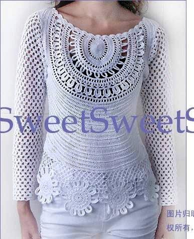 пуловер-туника крючьком (387x476, 56Kb)