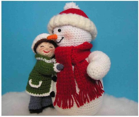 Девочка и снеговик (крючок)