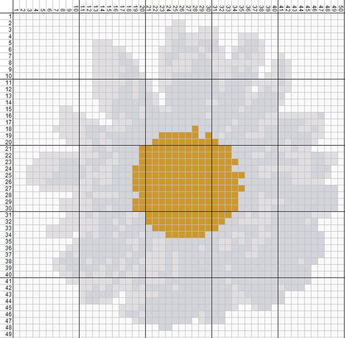 Ромашки схема вышивка 44