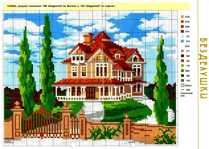 Вышивка крестиком дома домики 43