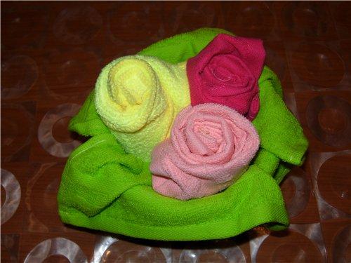 Цветы из полотенец как сделать