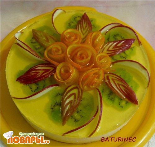 Как украсить торт яблоком и апельсином в домашних условиях