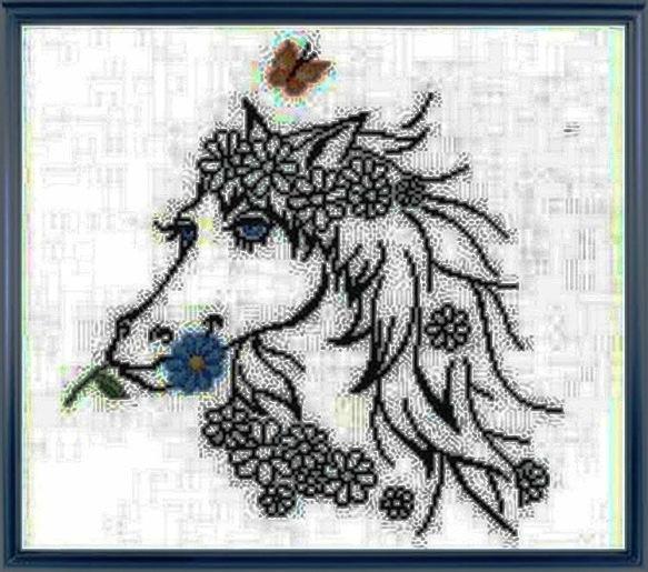 """Схема вышивки  """"Лошадка и цветы """" ."""