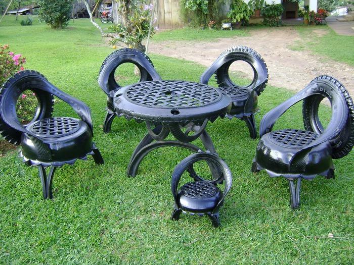 С колес поделки для сада