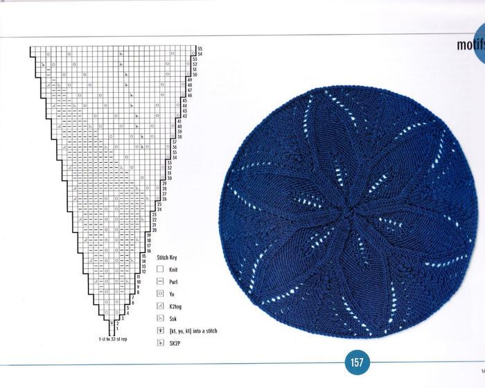 Ажурные круги спицами схема вязания