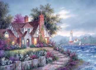 Вышивки крестом дом у моря