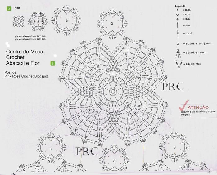 Centro de Mesa Crochet Abacaxi e Flor gr1 (700x564, 113Kb)
