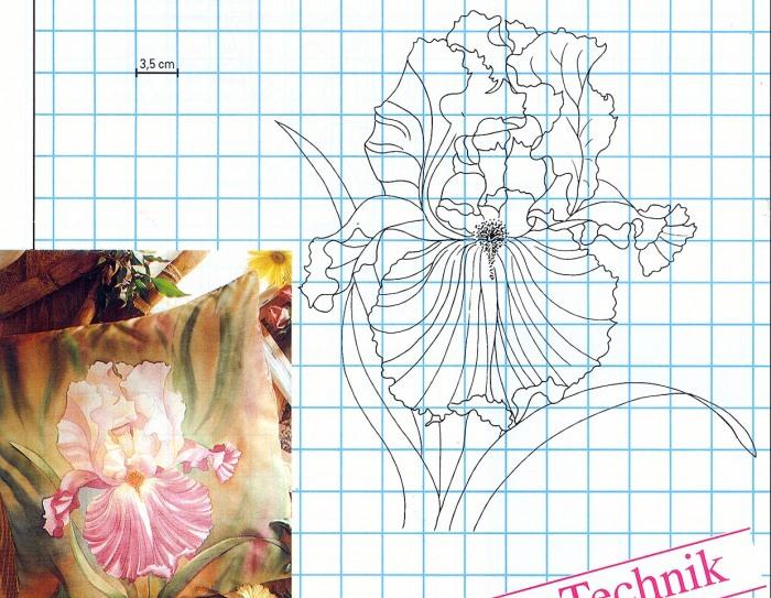 Батик - Ирисы - схемы для росписи по ткани.