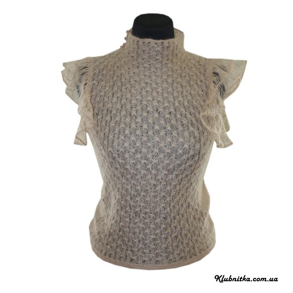Блуза из тонкого мохера (рукава-крылышки связаны на вилке) .