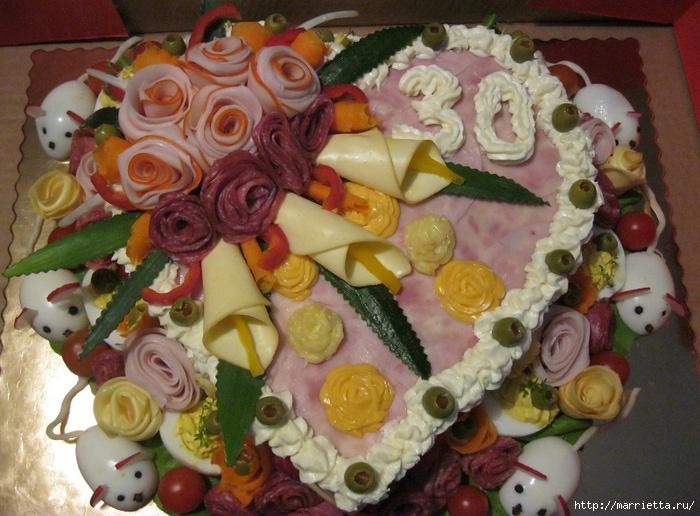 Как сделать торт из колбасы