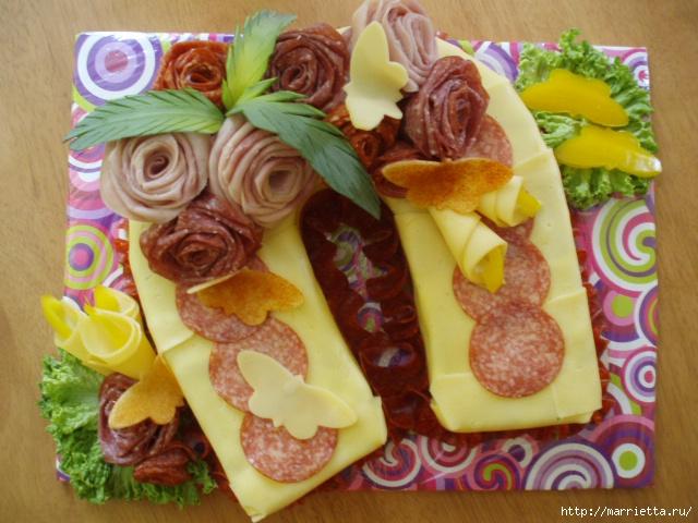Как сделать розы из колбасы и ветчины. Мастер-класс и огромная подборка закусочных тортов Домохозяйка