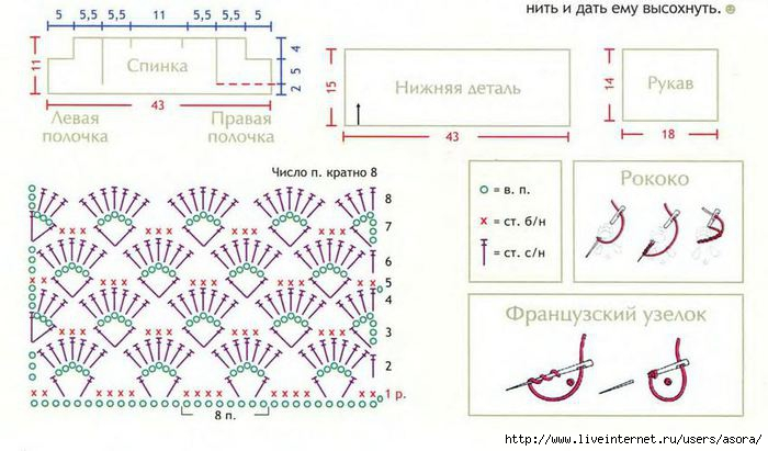 Вязание крючком кофты со схемами для детей 18