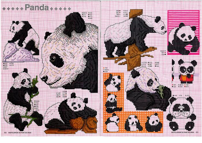 Вышивка крестиком панды 48