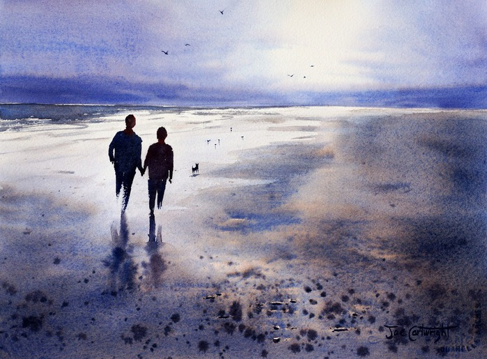 Watercolor painting of sunset reflections on wet sandy beach with pebbles (700x515, 131Kb)