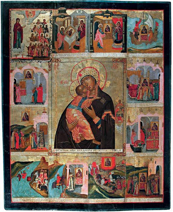 Икона Богородицы ВЛАДИМИРСКОЙ с Чудесами (571x700, 110Kb)