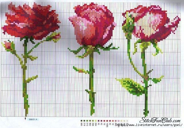 Схема вышивки бабочки на розе