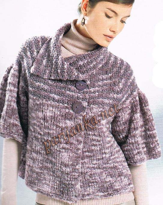 Свободный жакет с рукавами реглан вязание спицами