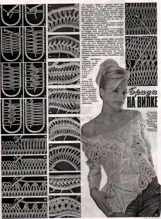 схемы для вязания на вилке