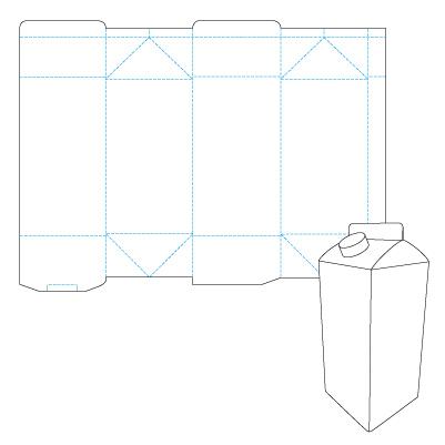 Дизайн упаковки: Выкройка Молочный пакет.