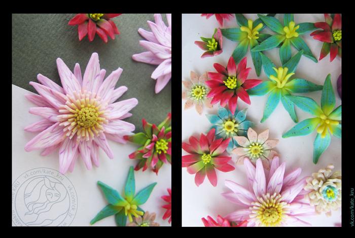 Как сделать цветы из глины