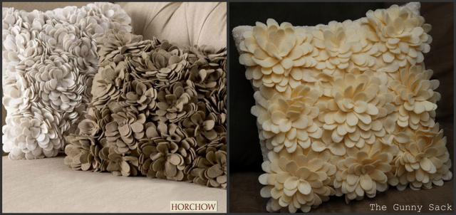 Декоративные подушки с объемными цветами