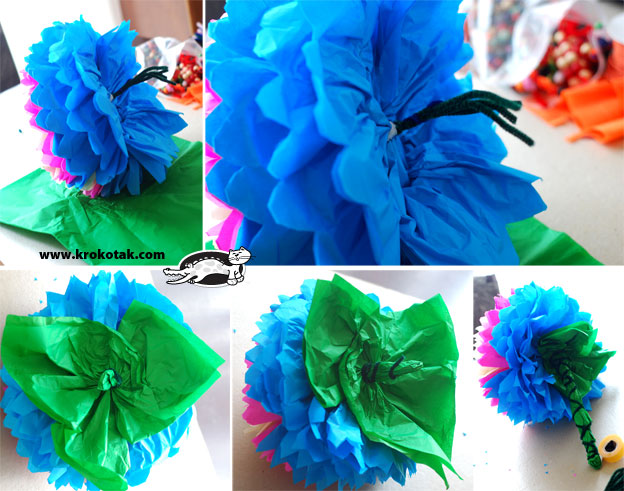 Цветы и бабочки из гофрированной бумаги