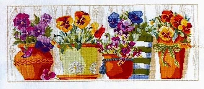 Схемы вышивки цветов в горшке