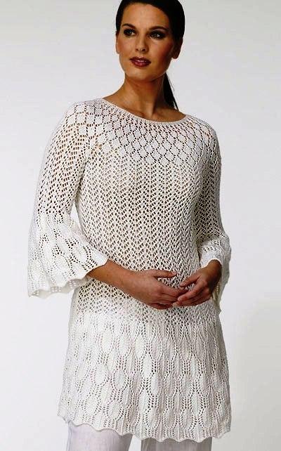 Белое ажурное платье спицами с Осинки