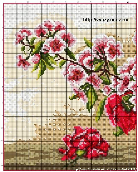 Розы и сакура (562x700, 400Kb)