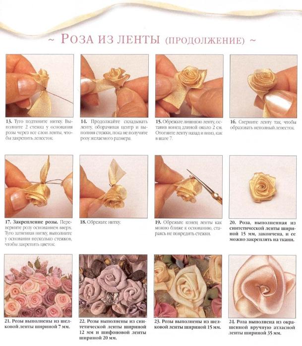 Вышивка лентами как сделать розы