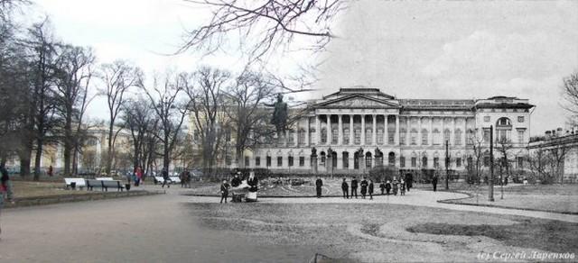 Городские пейзажи Петербурга в прошлом и настоящем 5 (640x292, 64Kb)